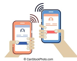 Hands holding mobile and calling each other