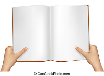 Hands holding open book. Vector illustration