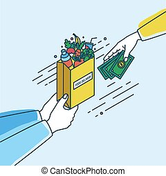 Hands holding paper bag with fruits and vegetables and passing money. Concept of order or purchase in online grocery products or food delivery service. Colorful vector illustration in lineart style.