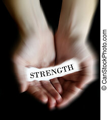 Hands Holding Paper Message Strength - Person hands holding...