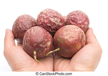 hands holding passion fruits on a white background