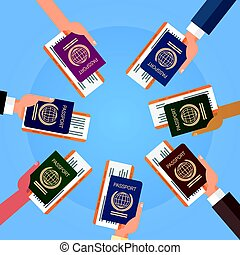 Hands Holding Passport Ticket Boarding Pass Travel Document