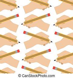 hands holding pencil creativity design pattern