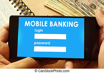 Hands holding phone with page mobile banking.