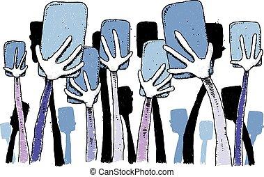 Hands Holding Phones