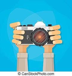 Hands holding photo camera. vector illustration in flat ...