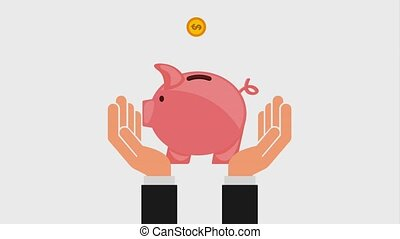 hands holding piggy bank and coins falling inside icons
