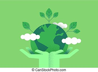Hands holding planet earth for environment care