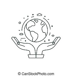 Hands Holding Planet Earth Icon in Line Art