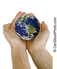 Hands holding planet Earth isolated on white background