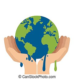 hands holding planet earth melting icon - simple flat design...