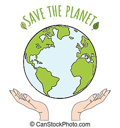 Hands holding planet Earth. Save the world