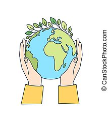 Hands holding planet Earth with green leaves growing on it isolated on white background. Ecological movement, ecology support, responsibility for nature. Modern vector illustration in line art style.