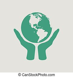 Hands holding planet icon