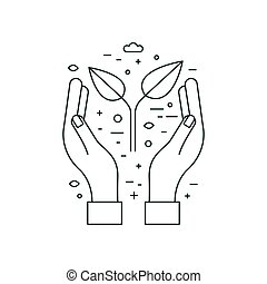 Hands Holding Plant Earth Saving Line Icon