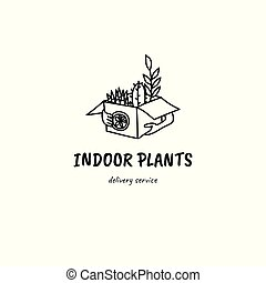 Hands holding plants in box. Doodle style hand drawn illustretion. Delivery or moving concept. Gardening. Sansevieria and cactus