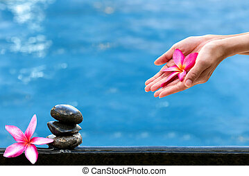 Hands holding Plumeria flower over water Spa concept