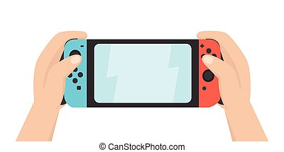 Hands holding portable gaming console. Vector hand drawn...