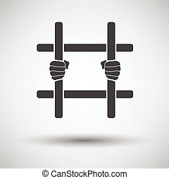 Hands holding prison bars icon on gray background with round...