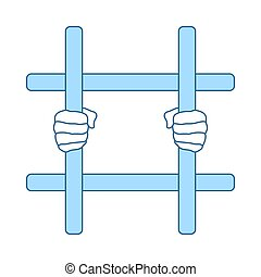 Hands Holding Prison Bars Icon
