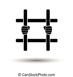 Hands holding prison bars icon. White background with shadow...