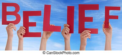 Hands Holding Red Belief