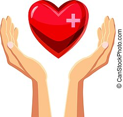 Hands holding red heart with cross icon