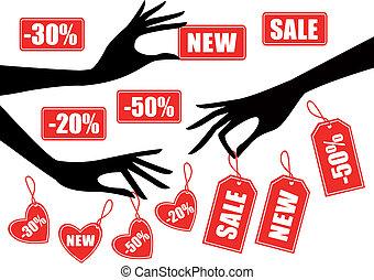 sale - Hands holding red sale badges, vector