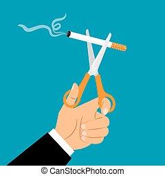 Hands holding scissors cuting cigarette