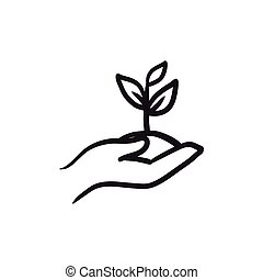 Hands holding seedling in soil sketch icon. - Hands holding...