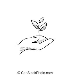 Hands holding seedling in soil sketch icon. - Hands holding ...