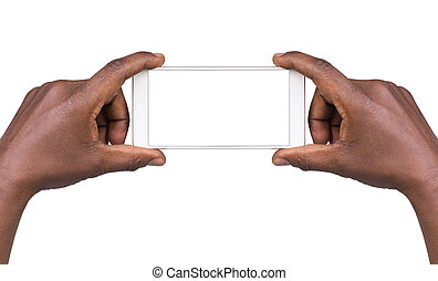 Hands holding smart phone with blank screen