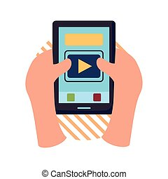 Hands holding smartphone flat style icon vector design