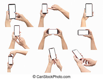 Hands holding smartphone set isolated on white background. With clipping path