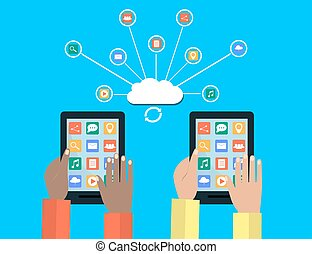 Hands Holding Tablet and Connect to Modern Cloud Services