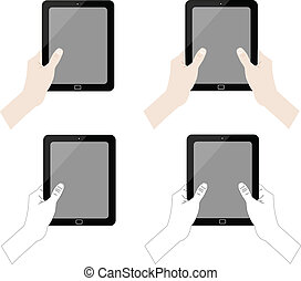 hands holding tablet collection