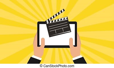 hands holding tablet computer clapper board movie animation...