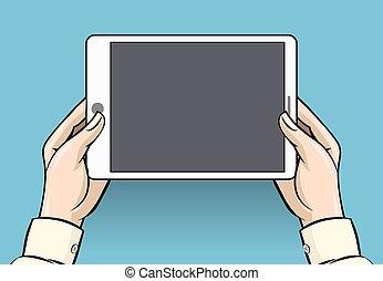 Hands holding tablet computer, vector illustration