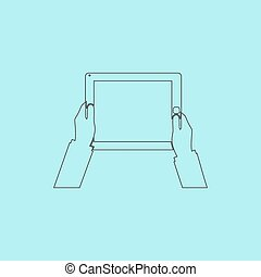 Hands holding tablet computer with blank screen