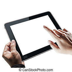 Hands holding tablet - Hands holding and point on digi