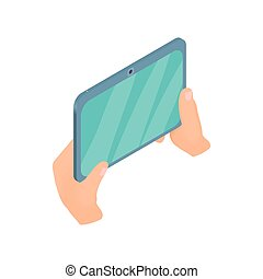 Hands holding tablet icon, cartoon style