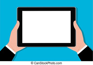 Hands holding tablet, vector