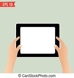 Hands holding tablet - Vector illustration - EPS10