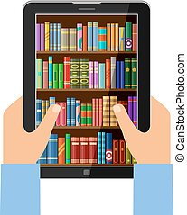 Hands holding tablet with digital books