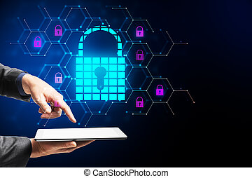 Hands holding tablet with glowing padlock hologram
