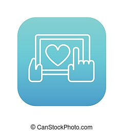 Hands holding tablet with heart sign line icon.