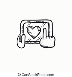 Hands holding tablet with heart sign vector sketch icon isolated on background. Hand drawn Hands holding tablet with heart sign icon. Hands holding tablet sketch icon for infographic, website or app.
