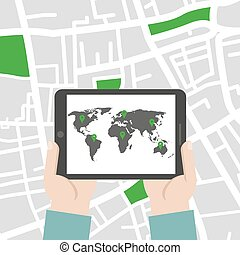 Hands holding tablet with world map. Vector illustration