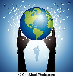 Hands Holding The Earth Globe