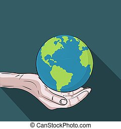 Hands holding The Green Planet , Save The Earth Concept
